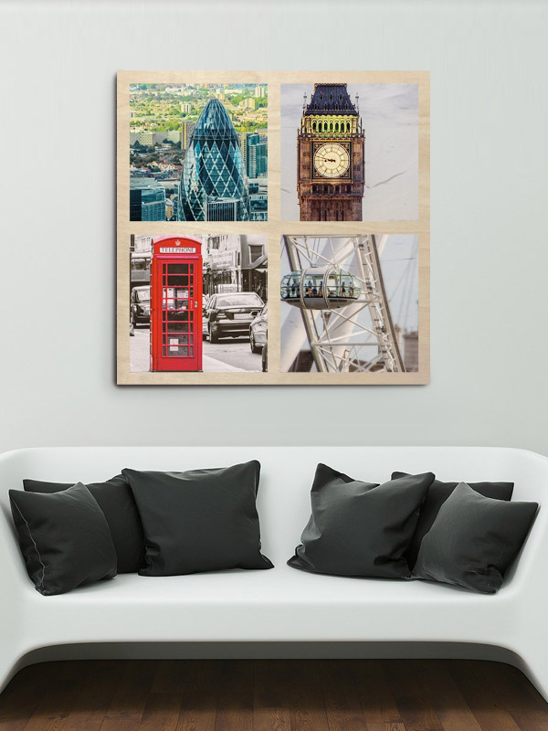 122cm Square Montage Wooden Wall Art