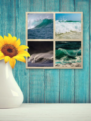 15cm Square Montage Wooden Wall Art