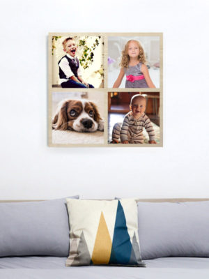 60cm Square Montage Wooden Wall Art