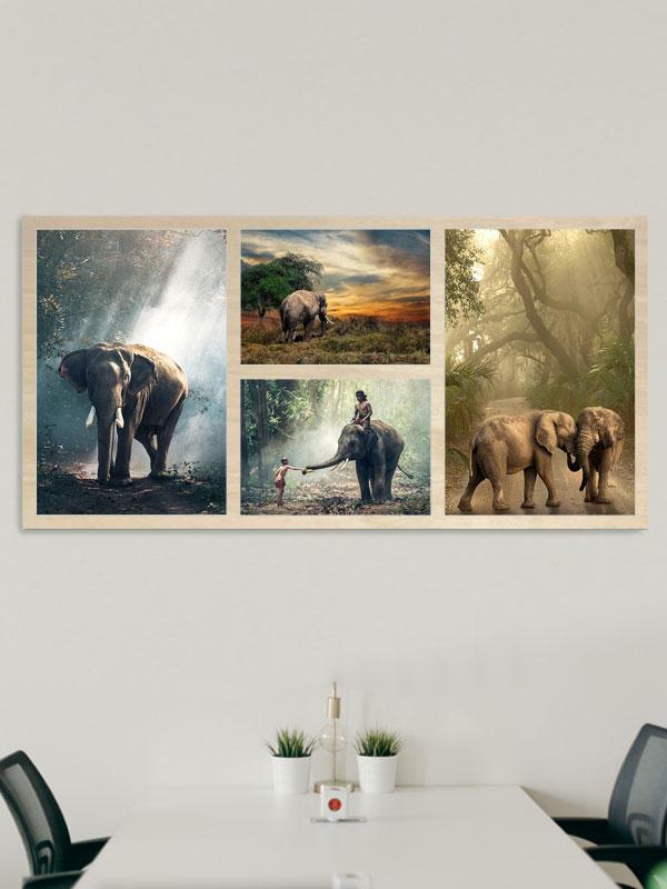 244cm x 122cm Montage Wooden Wall Art